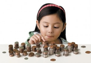 girl counting stacksof money